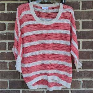 Shrinking Violet crochet knit sweater